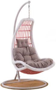 X8014 Outdoor Swing Egg Chair Rattan Chair White Grey Cushion
