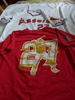 SGA Mike Trout # 27 LA Angeles 80s Replica Jersey Men's Sz XL & birthday shirt