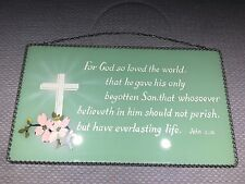 "Vintage Hanging Glass Plaque Bible Verse John 5:24 ~ 13"" x 6"" Metal Chain Frame"