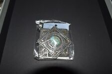 Faux Turquoise Pendant Necklace Western Belt Buckle Style