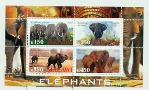 Malawi 2010 M/S Africa Elephants Nature Wild Animals Mammals Fauna Stamps MNH