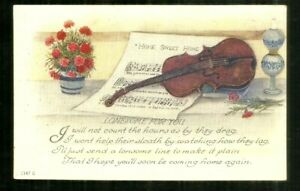 """Greetings/ """"Lonesome for You""""/ sheet music/ violin/ carnations/ poem/ postcard"""