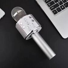 Sans fil Microphone bluetooth Haut-parleur Portable Karaoké KTV Micro USB Argent