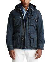 Polo Ralph Lauren Military Army Naval Officer Indigo Denim Field Jacket Belted L