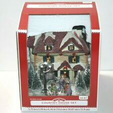HOLIDAY TIME CHRISTMAS VILLAGE HOUSE WALLMART - COUNTRY LIGHTED HOUSE & FIGURES