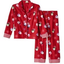 SO Size 7/8  Red Penguin Button Up Pants 2 Piece Pajamas Set New FREE SHIP