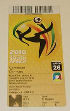 Ticket for collectors World Cup 2010 Cameroon - Denmark in Pretoria no 26