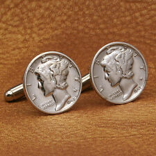Mercury Dime Cufflinks, American Silver Coins