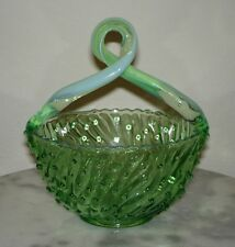 Jefferson Green Opalescent Handled May Basket