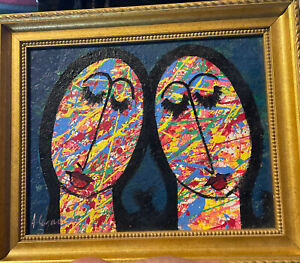 Original  painting (Abstract)  on canvas- Dominican art Faces Caritas