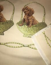 """John Wolf """"Dog In A Basket"""" Vintage Border Print Fabric 4 Yds By 36 In"""