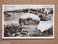 R&L Postcard: 1930's Skegness Multiview Boating Lake/Theatre/Classic Cars