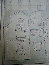 """PATRON ORIGINAL POUR LA POUPEE BLEUETTE """" COSTUME MARIN ET BERET FEVRIER 1919"""