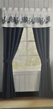 "CROSCILL CLAYRA TAILORED VALANCE Embroidered Blue White 72""X18"""