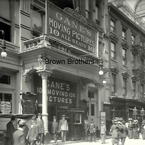 1907 NYC EARLIEST MOVIE THEATRE Gane's Moving Pictures Glass Camera Negative