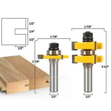 """2pcs 1/2"""" Shank Alloy Tongue and Groove Router Bit Set Woodworking Cutter Tools"""