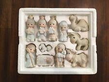 Vintage Precious Moments Miniatures Set Porcelain Bisque Nativity Scene