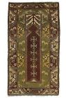 Vintage Turkish Milas Prayer Rug, 4'x8', Brown/Green, Hand-Knotted Wool Pile