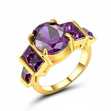 Jewelry Rings Size 7 Purple Amethyst Crystal CZ Unisex 10Kt Yellow Gold Plated