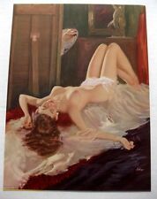 1940s Pin Up Girl Picture Litho Nude Model Being Painted by Kohn