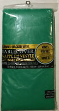 """Amscan Vinyl Table Cover 52"""" x 90"""" Green Flannel Backed Reusable New"""