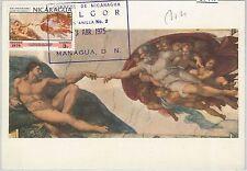 57447  -   NICARAGUA - POSTAL HISTORY: MAXIMUM CARD 1975 - ART Michelangelo