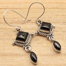 Natural 2 Gemstone BLACK ONYX VINTAGE STYLE Earrings ! Silver Overlay Jewelry