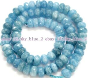"""Fashionable 5x8mm Faceted Natural Aquamarine Gemstones Loose Beads 15"""""""