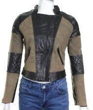 Womens Print Bomber Biker Jacket Faux Leather Ladies PVC Short PU Coat 8 10 12
