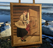 "1917 RARE Josef Lof Oil Painting on Board ""Lady In Cabin"" Arts And Crafts VTG"