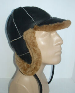 NEW! Handmade Sheepskin Bomber Aviator Hat Real Leather size M * DISCOUNTED! *