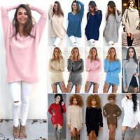 Womens Long Sleeve Sweater Sweatshirt Jumper Casual Pullover Mini Dress Top Coat