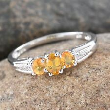 Yellow Sapphire, White Topaz Platinum Over Sterling Silver Trilogy Ring (Size 9)