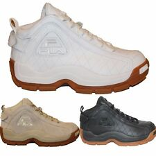 Mens FILA 96 QUILTED Grant Hill Retro Basketball Shoes Sneakers White Black Gum