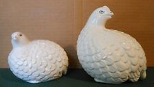 2 Vintage ARNEL'S Ceramic Quail Figurines White Cream Color