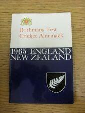 1965 Cricket: ROTHMANS Test Cricket ALMANAC-Inghilterra V Nuova Zelanda. eventuali difetti