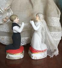 Rare Ancien couple de Communiant en Biscuit ou porcelaine Époque fin XIX -ème