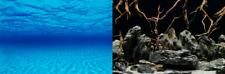 poster fond aquarium reversible 60 x 30 cm fond bleu / racine araignée
