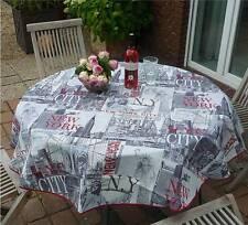 Tischdecke Provence 160 cm rund hellgrau New York City aus Frankreich, bügelfrei