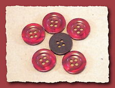 6 BOUTONS Rouge Carmin Grenat 18 mm 1,8 cm 4 trous  Button sewing neuf mercerie