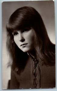 1974 TEEN GIRL Long Loose Hair Portrait Baby Face USSR OLD Photo