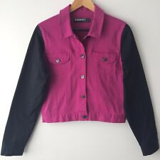 HONEY Ocean Earth Size 12 Tilly Denim Jacket Berry Colour Blocked Pink Black NWT