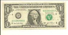 JAN 8, 2005 .. BIRTHDAY NOTE .. 2003A $1  D 0108 2005 D ..... 01/08/2005
