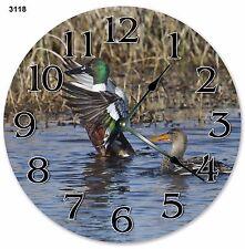 "10.5"" MALLARD DUCKS ON FLIGHT CLOCK - Large 10.5"" Wall Clock Home Décor - 3118"