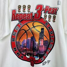 New listing Vintage 90's Chicago Bulls Repeat 3-Peat Starter T Shirt Size Large Nos 1998 Usa