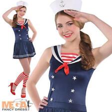 Sailor Sweetie Costume Ladies Armed Forces Navy Uniform Womens Fancy Dress 8-16