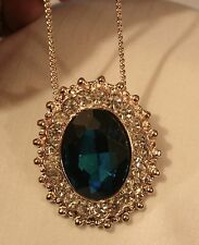 Gorgeous Bead Rimed Rhinestones Facted Blue Oval Goldtone Pendant Necklace