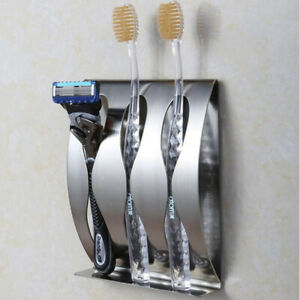 Stainless Steel Wall Mount Toothbrush Holder 3/2 Hook Self-Adhesive Tooth Brush