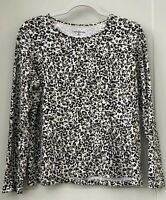 Croft & Barrow Women's XL Leopard Print Black Beige White Long Sleeve Top
