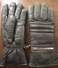 SMALL VTG 70s MENS BLACK LEATHER ZIP POUCH GLOVES